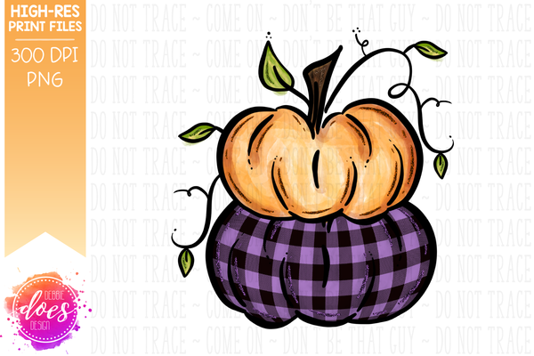 Orange & Purple Plaid Stacked Pumpkins - Printable/Sublimation File