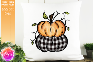 Orange & White Plaid Stacked Pumpkins - Printable/Sublimation File