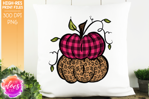 Pink Plaid & Leopard Stacked Pumpkins - Printable/Sublimation File