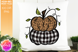 Leopard & White Plaid Stacked Pumpkins - Printable/Sublimation File
