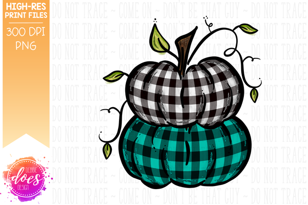 White & Teal Plaid Stacked Pumpkins - Printable/Sublimation File