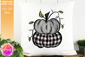 Weathered Wood & White Plaid Stacked Pumpkins - Printable/Sublimation File