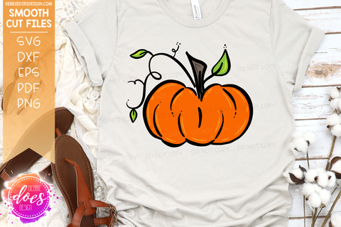 Hand Drawn Pumpkin with Vines - SVG File