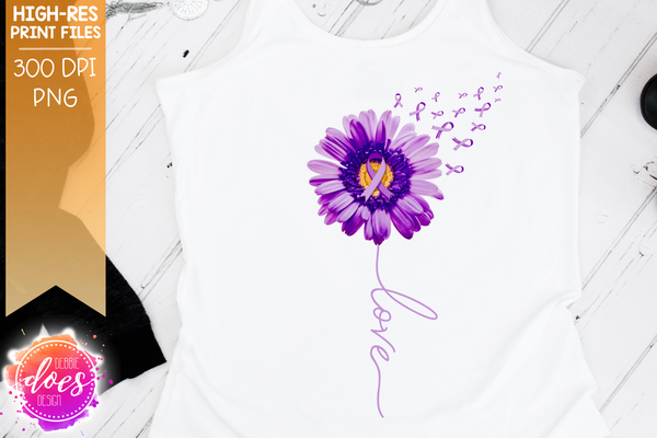 Purple Awareness Daisy - Love - Printable/Sublimation File
