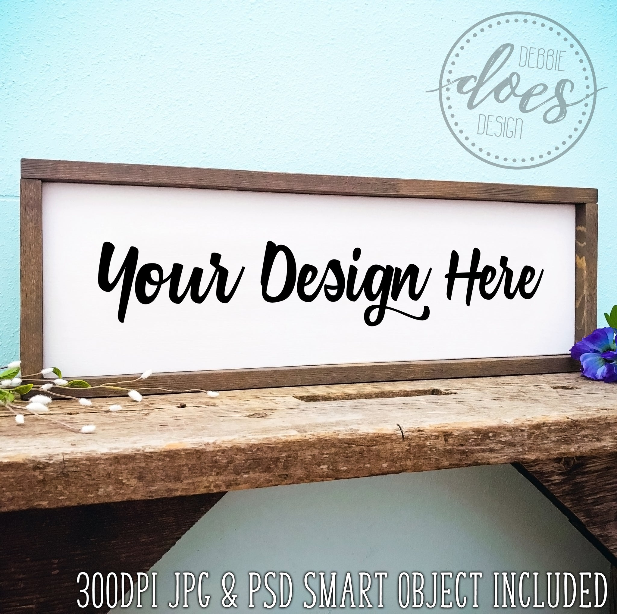 Rectangle Framed Sign Mockup with Smart Object