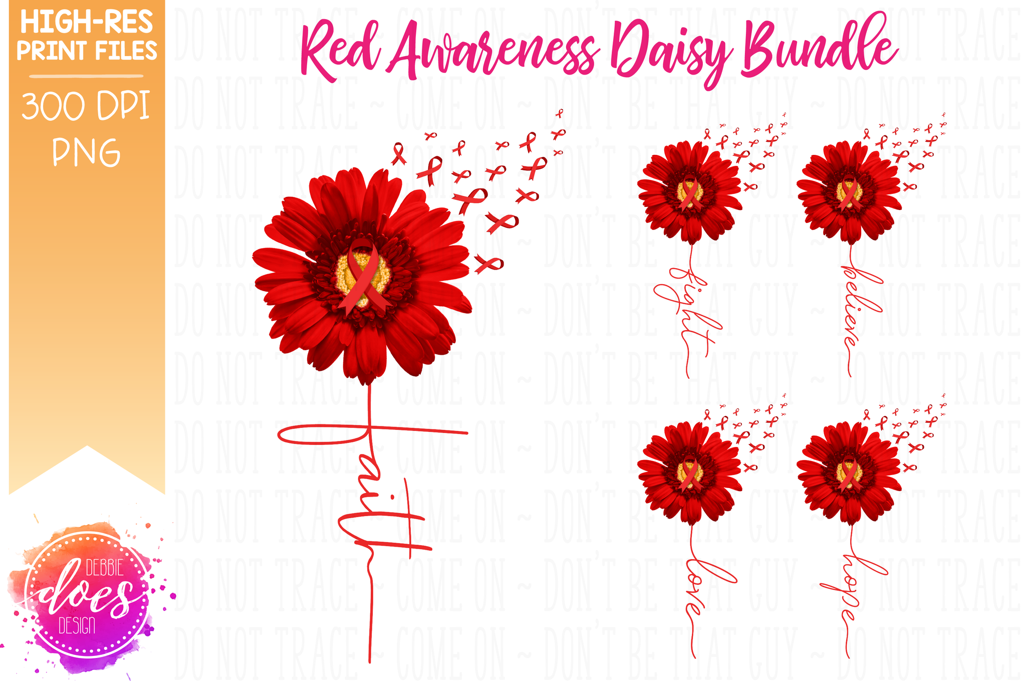Red Awareness Daisy Bundle - Includes 5 Designs! - Printable/Sublimation File