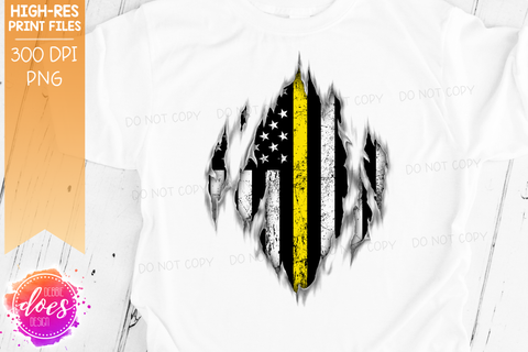 Ripped Shirt - Thin Yellow Line - Dispatch - Sublimation/Printable Design
