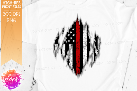 Ripped Shirt - Thin Red Line - Firefighter - Sublimation/Printable Design