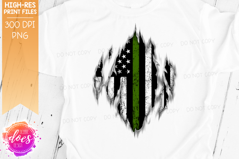Ripped Shirt - Thin Green Line - Military - Sublimation/Printable Design