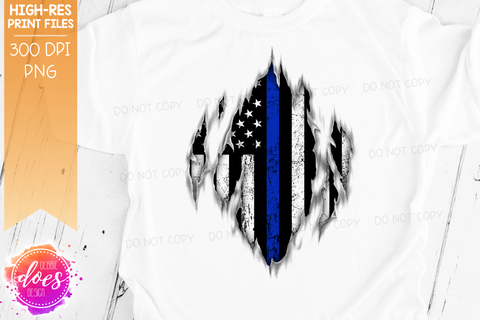 Ripped Shirt - Thin Blue Line - Police - Sublimation/Printable Design