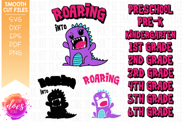 Roaring into Grades - Girl Dinosaur Bundle - Includes 9 Grades - SVG Files