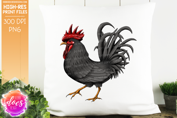 Black Hand Drawn Rooster/Chicken - Sublimation/Printable Design