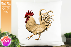 Buff Hand Drawn Rooster/Chicken - Sublimation/Printable Design