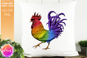 Rainbow Hand Drawn Rooster/Chicken - Sublimation/Printable Design