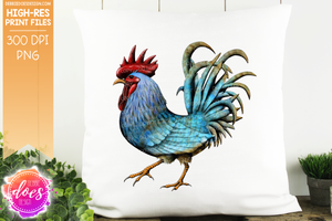 Teal Hand Drawn Rooster/Chicken - Sublimation/Printable Design