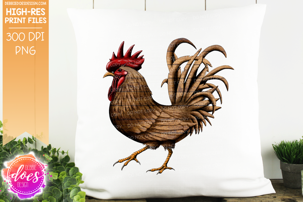 Wood Hand Drawn Rooster/Chicken - Sublimation/Printable Design