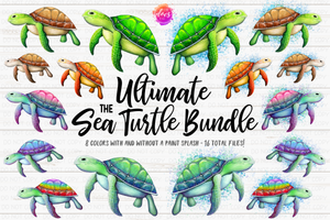 The Ultimate Sea Turtle Bundle - Includes 16 files! - Sublimation/Printable Design