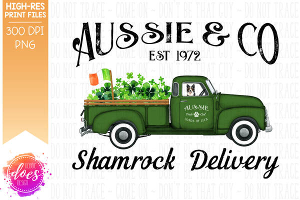 Aussie - Dog Shamrock Delivery Truck  - Sublimation/Printable Design
