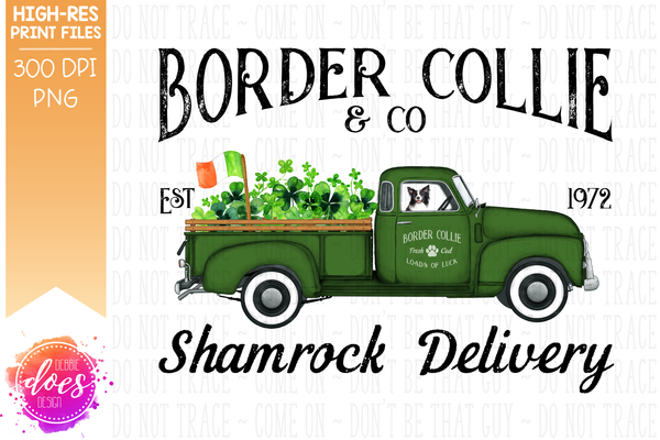 Border Collie - Dog Shamrock Delivery Truck  - Sublimation/Printable Design