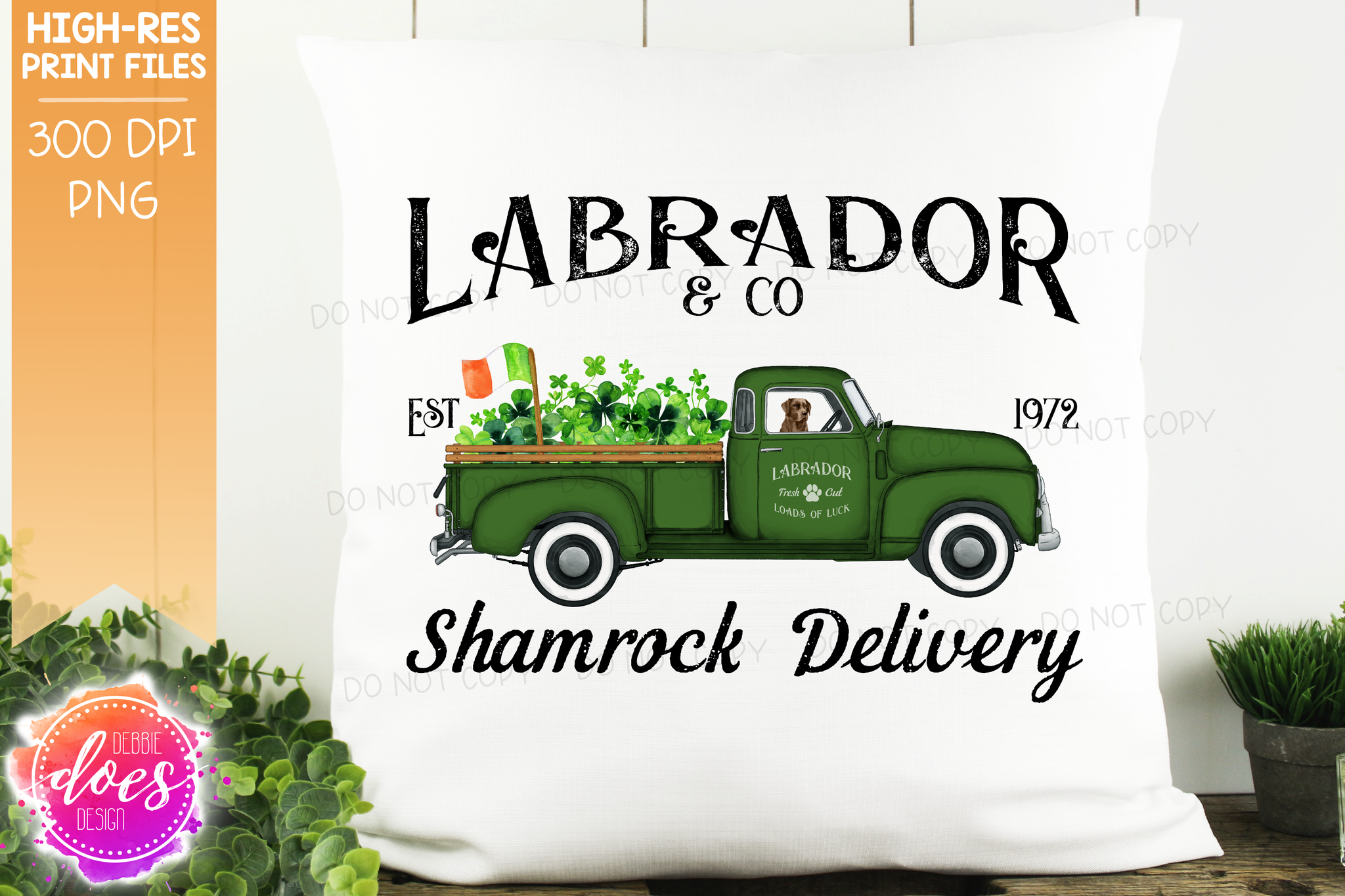 Labrador - Chocolate - Dog Shamrock Delivery Truck  - Sublimation/Printable Design