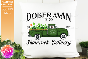 Doberman- Dog Shamrock Delivery Truck  - Sublimation/Printable Design