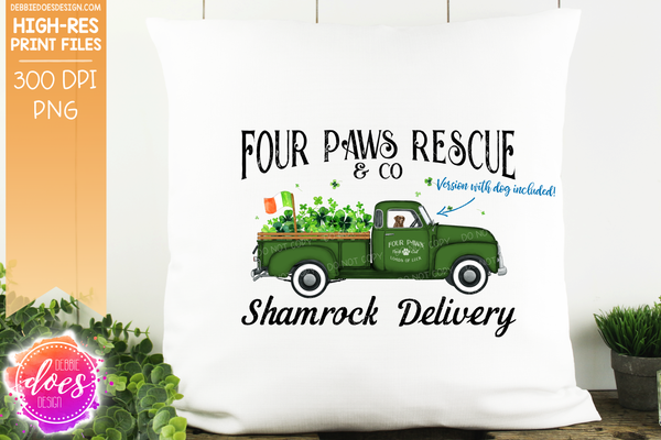 Four Paws Rescue - With Dog - Dog Shamrock Delivery Truck  - Sublimation/Printable Design