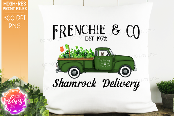 Frenchie - Grey - Dog Shamrock Delivery Truck  - Sublimation/Printable Design