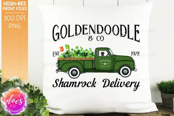 Goldendoodle - Black - Dog Shamrock Delivery Truck  - Sublimation/Printable Design
