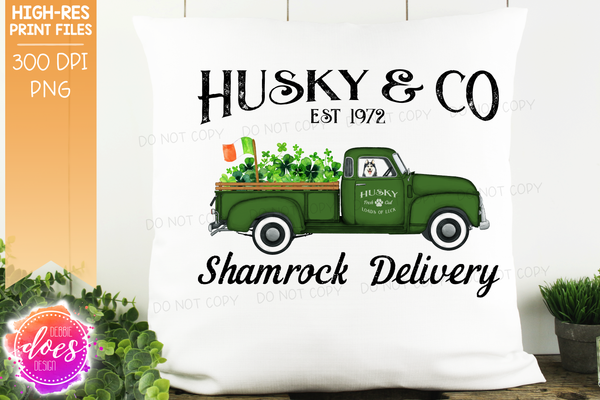 Husky - Dog Shamrock Delivery Truck  - Sublimation/Printable Design