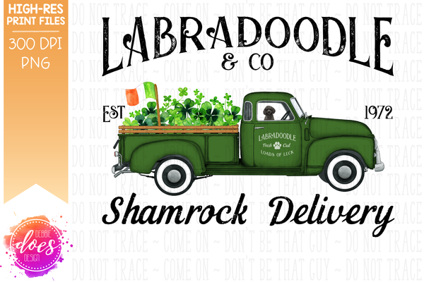 Labradoodle - Black - Dog Shamrock Delivery Truck  - Sublimation/Printable Design