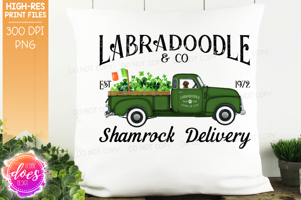 Labradoodle - Brown - Dog Shamrock Delivery Truck  - Sublimation/Printable Design