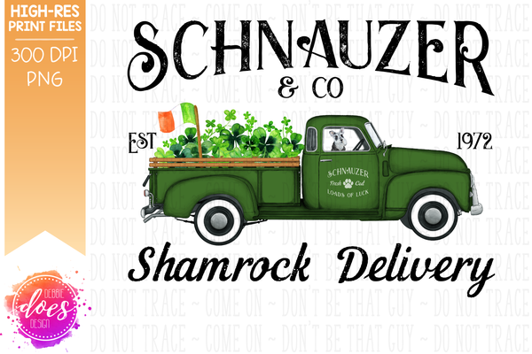 Schnauzer - Dog Shamrock Delivery Truck  - Sublimation/Printable Design