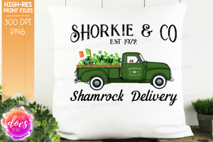 Shorkie - Dog Shamrock Delivery Truck  - Sublimation/Printable Design