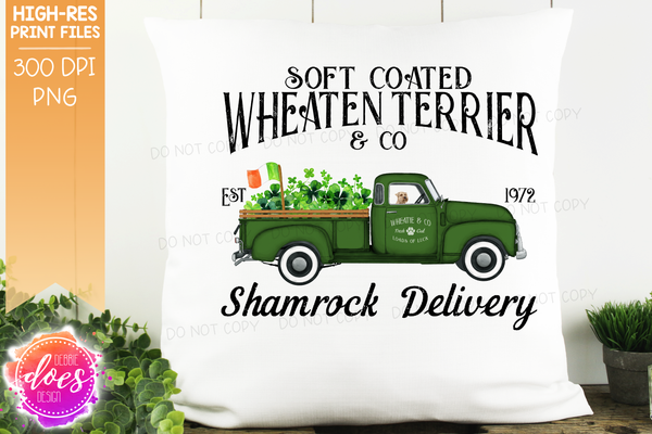 Wheaten Terrier - Dog Shamrock Delivery Truck  - Sublimation/Printable Design