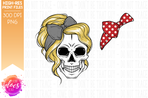 The Messy Bun Skull  - Blonde - Sublimation/Printable Design