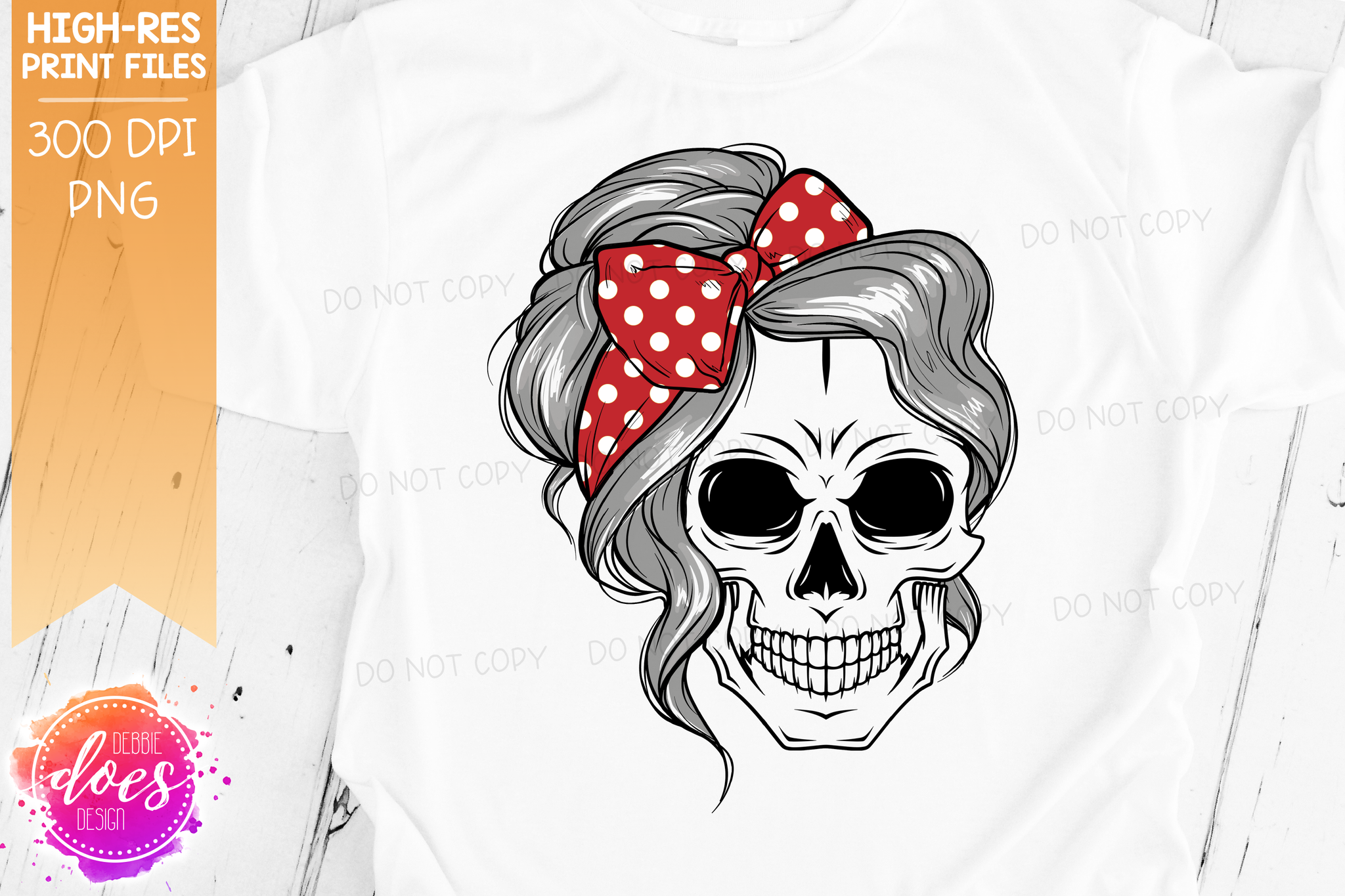 The Messy Bun Skull  - Grey - Sublimation/Printable Design