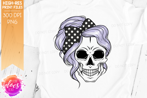 The Messy Bun Skull  - Purple - Sublimation/Printable Design