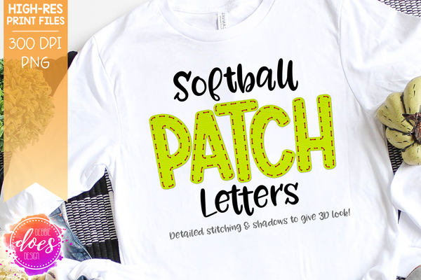 Softball Patch Letters - Design Elements - Design Elements
