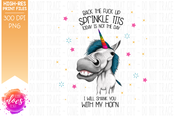 Back Off Sprinkle Tits - Unicorn - Sublimation/Printable Design