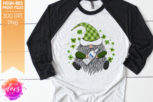 St.Patrick's Day Gnome with Blue Vodka - Sublimation/Printable Design
