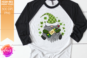 St.Patrick's Day Gnome with Irish Whiskey - Sublimation/Printable Design
