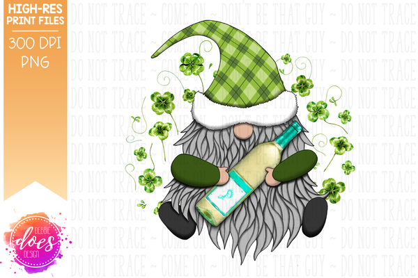 St.Patrick's Day Gnome with Moscato - Sublimation/Printable Design