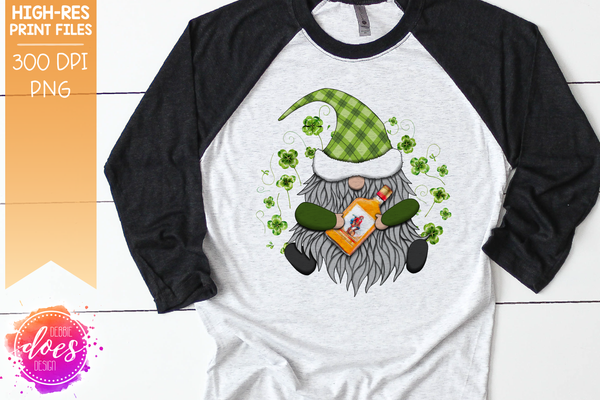 St.Patrick's Day Gnome with Spiced Rum - Sublimation/Printable Design