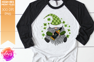 St.Patrick's Day Gnome with Black Whiskey - Sublimation/Printable Design