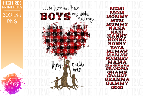 Who Stole My Heart Tree - Customizable - 2 Boys Kit - Sublimation/Printable Design