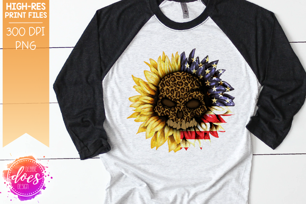 Sunflower Leopard Skull with US Flag - Printable/Sublimation File