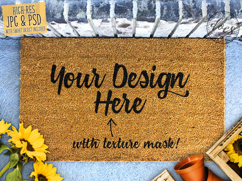 Sunflowers & Planter Box Coir Doormat Mockup with Smart Object