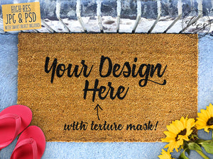 Sunflowers and Flip Flops Coir Doormat Mockup with Smart Object