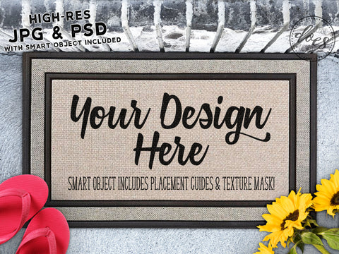 Sunflowers & Flip Flops Grey Doormat Mockup with Smart Object