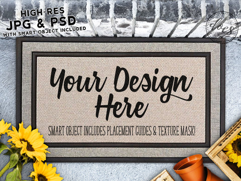 Sunflowers & Planter Grey Doormat Mockup with Smart Object